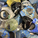 Steinringe-Lapislazuli-Prehnit-Bergkristall-Lemonzitrin-Onyx